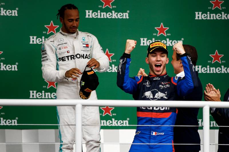 Pierre Gasly on the podium at the 2019 F1 Brazilian Grand Prix