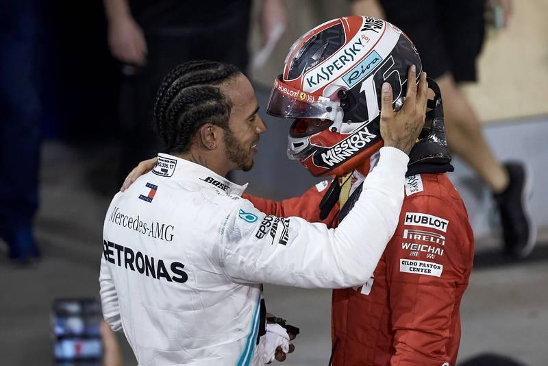 Lewis Hamilton consoles Charles Leclerc after the 2019 Bahrain Grand Prix