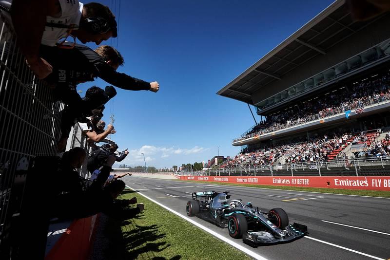 Lewis Hamilton crossing the line to win the 2019 Spanish Grand Prix