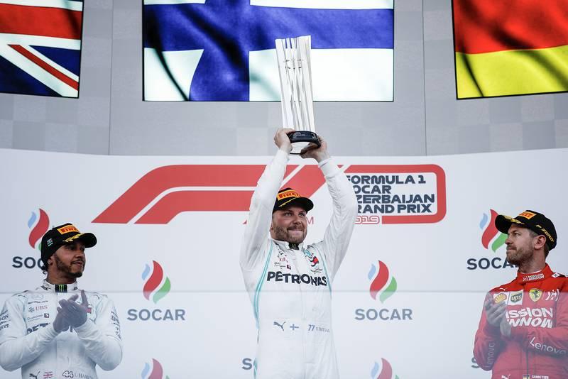 Valtteri Bottas on the top step after winning the 2019 Azerbaijan Grand Prix