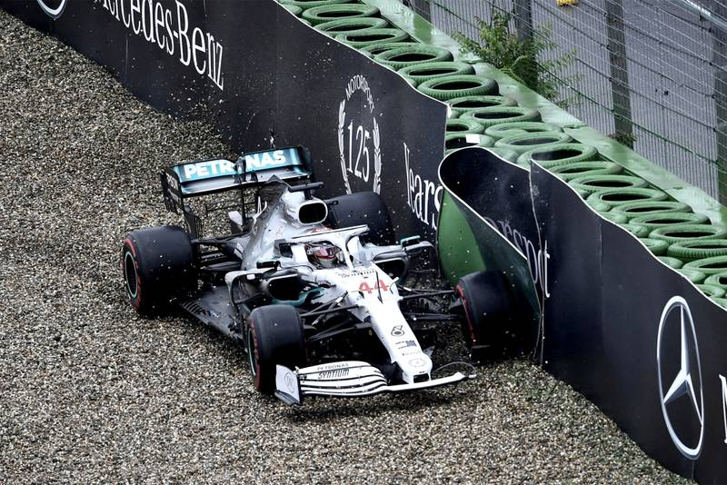 Lewis Hamilton hits the barriers during the 2019 German Grand Prix