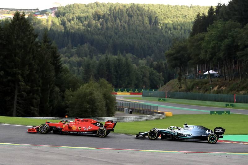 Sebastian Vettel holding off Lewis Hamilton during the 2019 Belgian Grand Prix