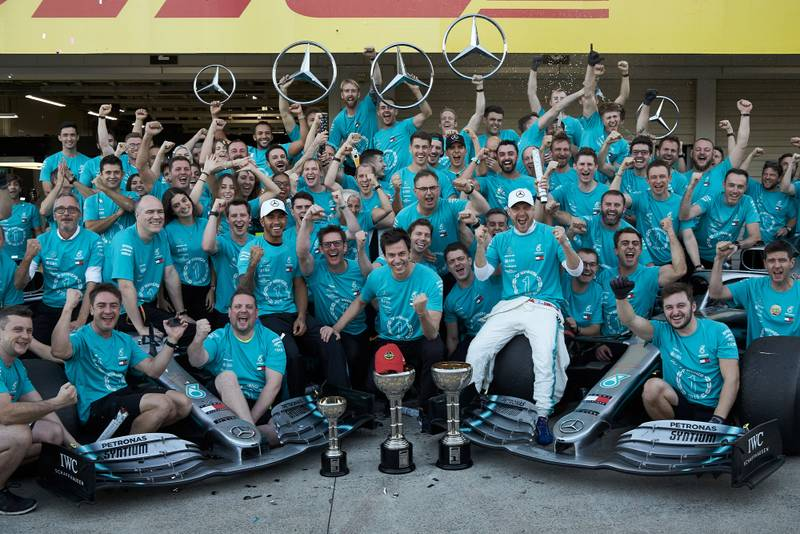 Mercedes celebrates winning its sixth constructors' championship title at the 2019 Japanese Grand Prix