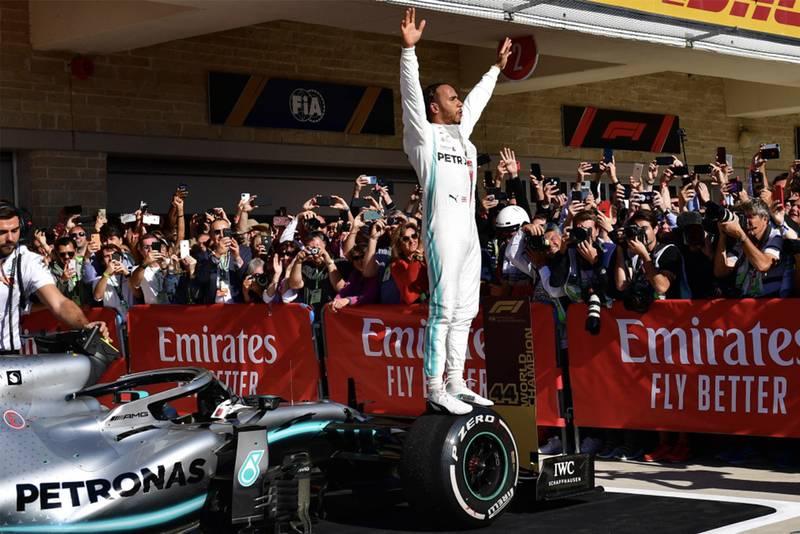 Lewis Hamilton celebrates winning his sixth world title at the 2019 United States Grand Prix