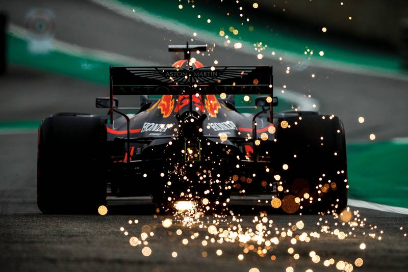 Max Verstappen leaves a trail of sparks during qualifying for the 2019 F1 Brazilian Grand Prix