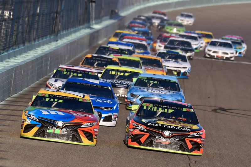 Kyle Busch and Martin Truex Jr during the FordEcoBoost 400