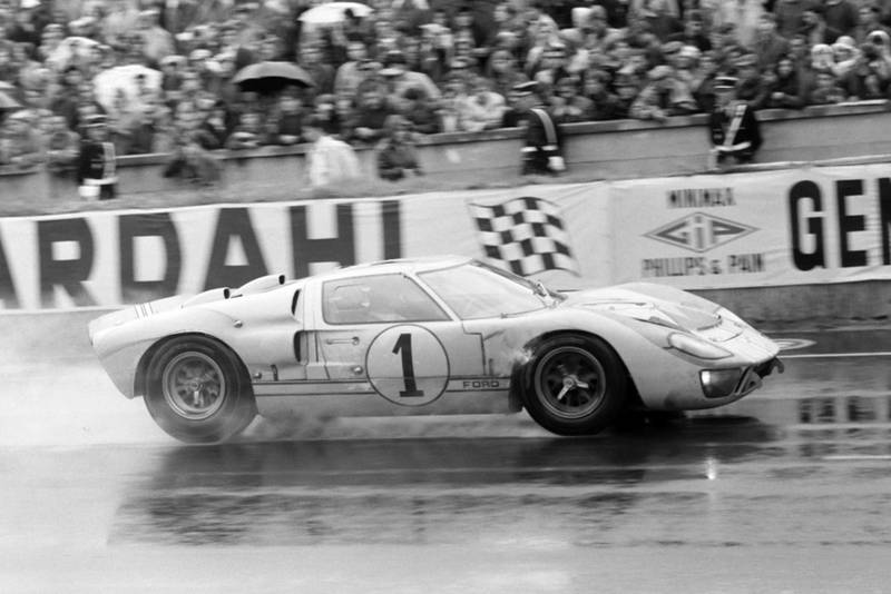 Ken Miles and Denny Hulme's Ford GT40 Mk II during the 1966 Le Mans 24 Hours