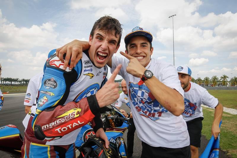 Alex Marquez with Marc Marquez