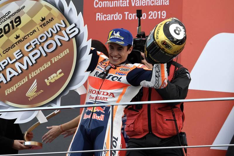 Marquez on the podium in the 2019 MotoGP Valencia Grand Prix
