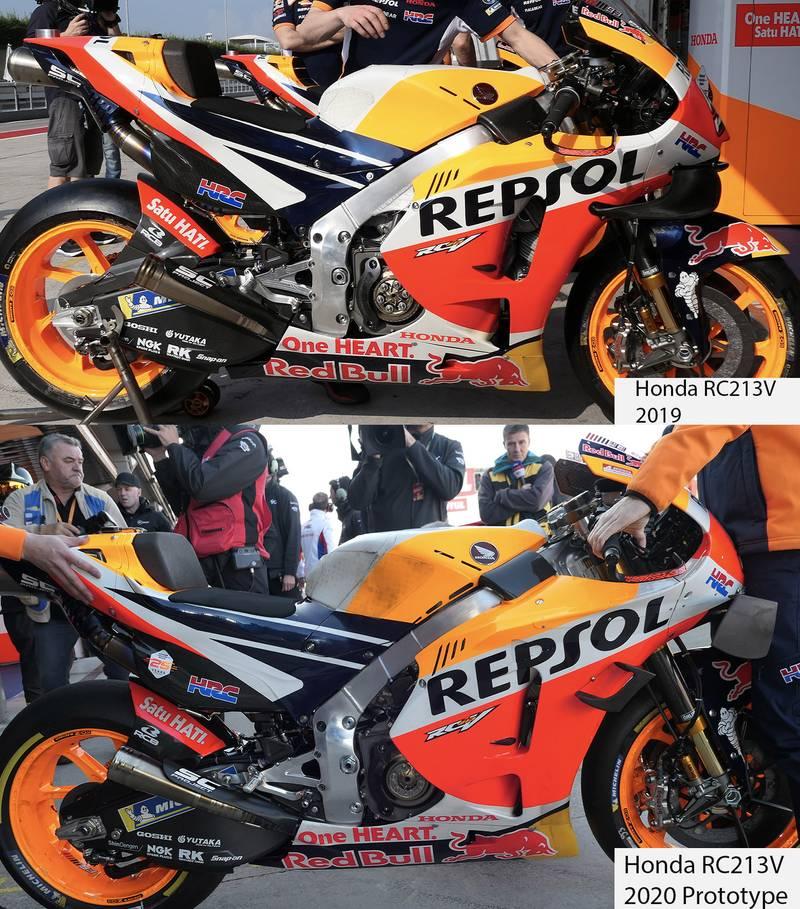 Honda's RC213V 2019 and 2020 prototype bikes during post-season testing