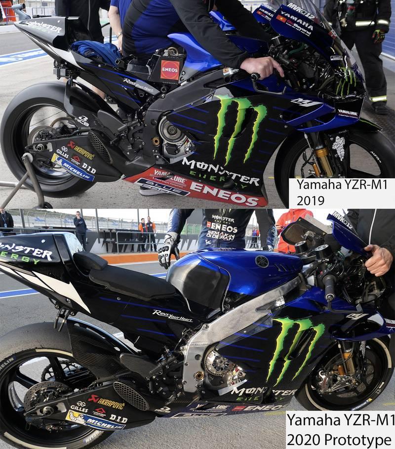 Yamaha's YZR-M1 2019 and 2020 prototype bikes