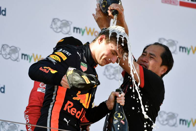Max Verstappen and Toyoharu Tanabe celebrates his win at the 2019 Austrian Grand Prix