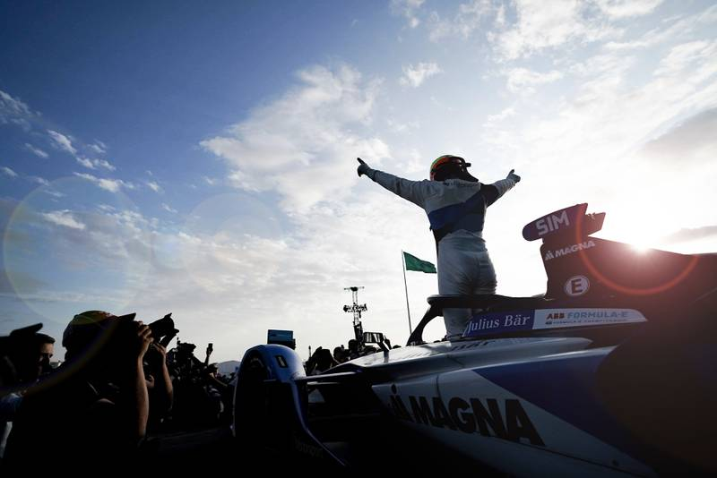 Alexander Sims celebrates winning the 2019 Diriyah E-Prix