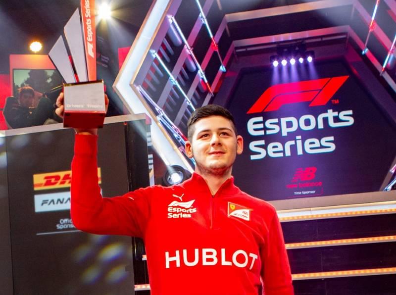 David Tonizza celebrates winning the 2019 F1 Esports series championship