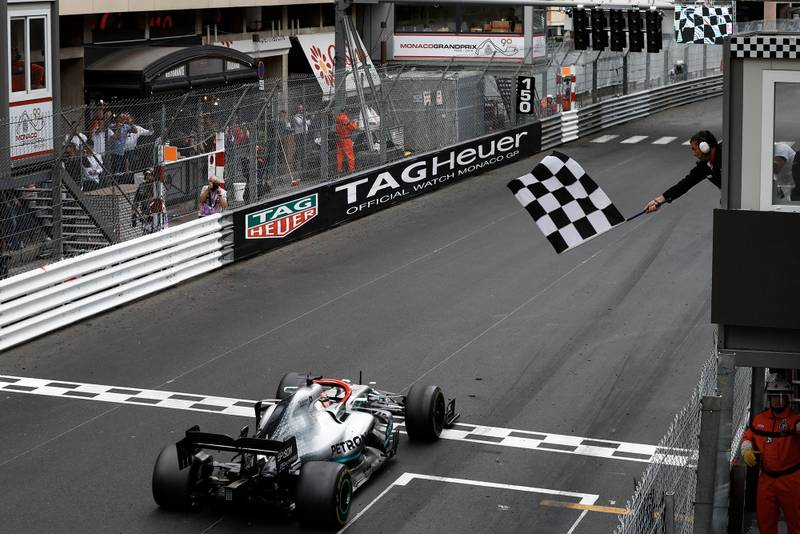 Chequered flag and light panel at the end of the 2019 Monaco Grand Prix