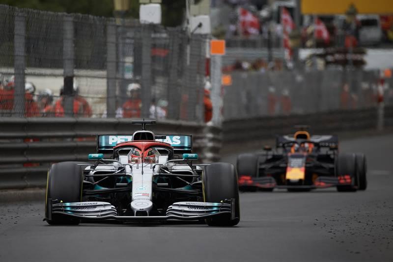 Lewis Hamilton and Max Verstappen during the 2019 Monaco Grand Prix