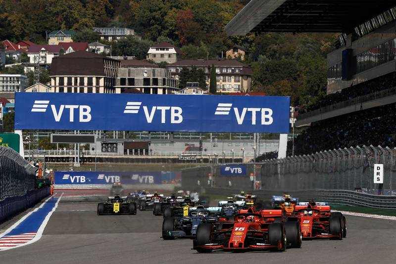 The start of the 2019 Russian Grand Prix