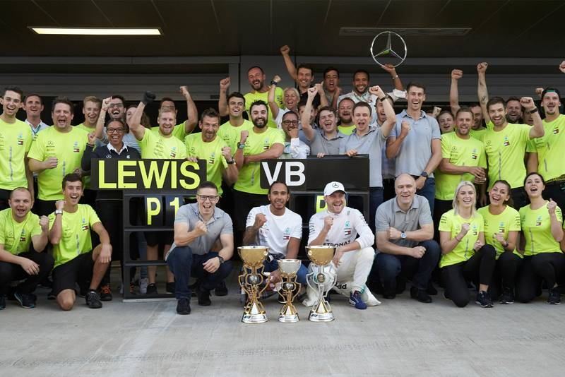 Mercedes celebrate victory at the 2019 Russian Grand Prix