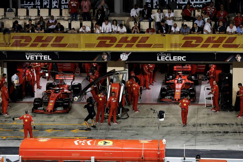 Ferraris head out for another qualifying run at the 2019 Abu Dhabi Grand Prix