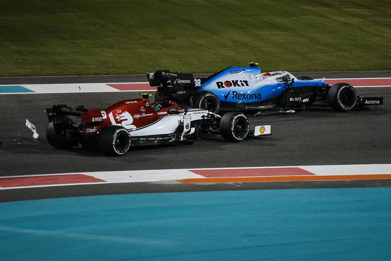 Debris falls onto the track after Antonio Giovinazzi and Robert Kubica collide at the 2019 Abu Dhabi Grand Prix