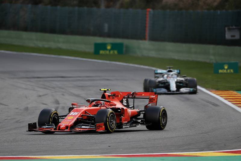 Charles Leclerc leads Lewis Hamilton during the 2019 Belgian Grand Prix