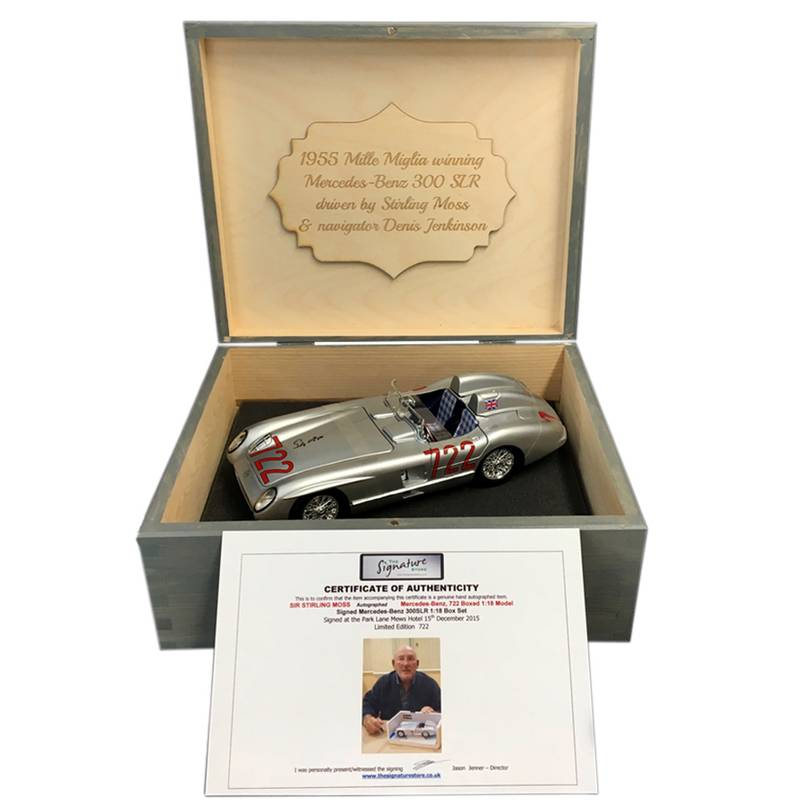 Product image for Stirling Moss - Mercedes-Benz 300 SLR - 1955 Mille Miglia | model | signed Stirling Moss | 1:18 scale