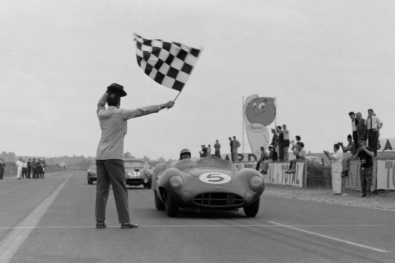 Roy Salvadori and Carol Shelby's Aston Martin DBR1 winning the 1959 Le Mans 24 Hours