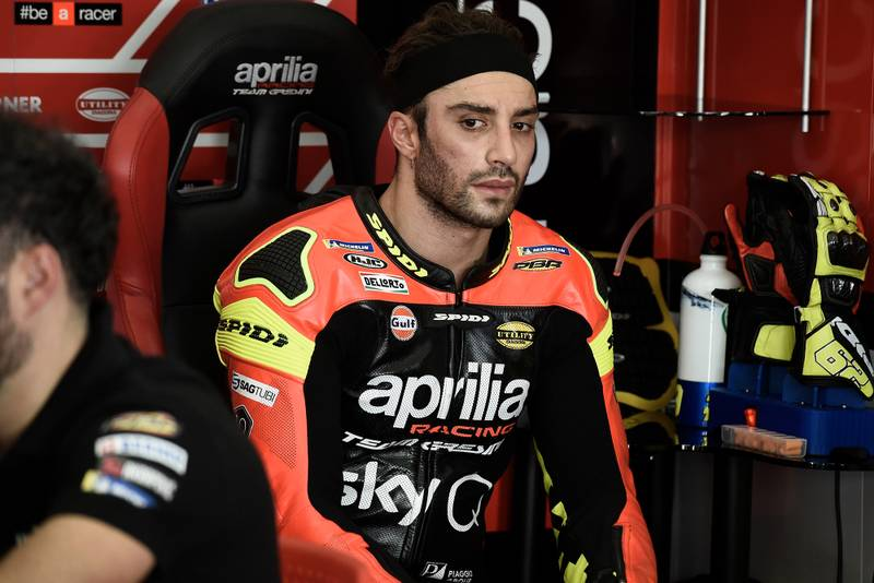 Andrea Iannone sitting in the pits in February 2019