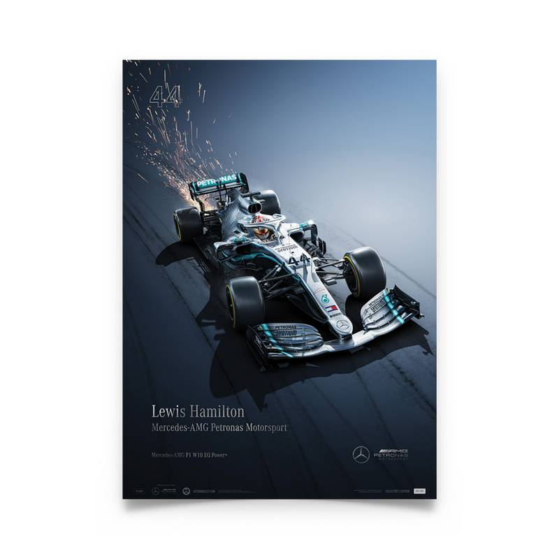 Product image for Lewis Hamilton - Mercedes W10 - 2019 | Automobilist | Collector's Edition Poster