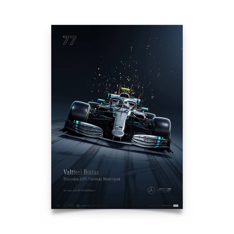 Product image for Valtteri Bottas - Mercedes W10 - 2019 | Automobilist | Collector's Edition Poster