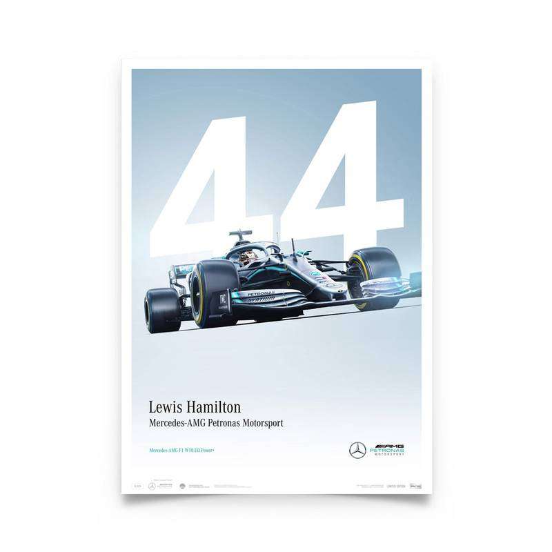 Product image for Lewis Hamilton - Mercedes W10 - 2019 | Automobilist | Limited Edition poster