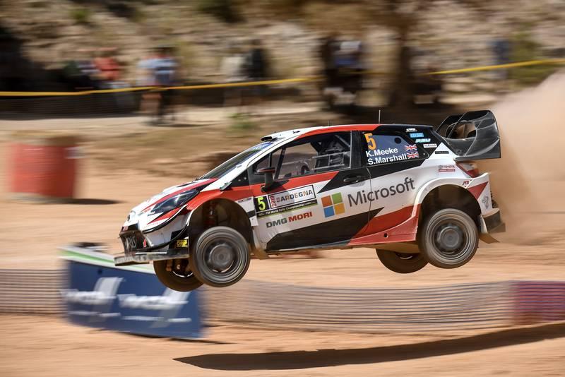 Kris Meeke's Toyota Yaris in mid-air