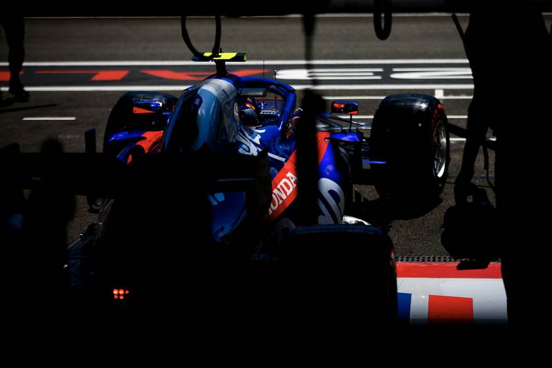 2019 Toro Rosso car pulling out of the pits