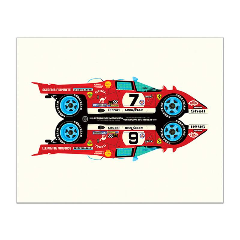 Product image for Rivals | Ferrari 512M -  Le Mans - 1971 | Studio Bilbey | Limited Edition print