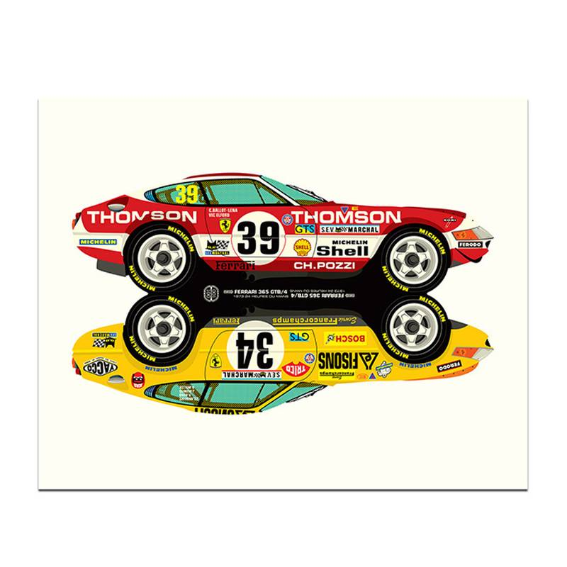 Product image for Rivals | Ferrari 365GTB/4 - Le Mans - 1973 | Studio Bilbey | Limited Edition print