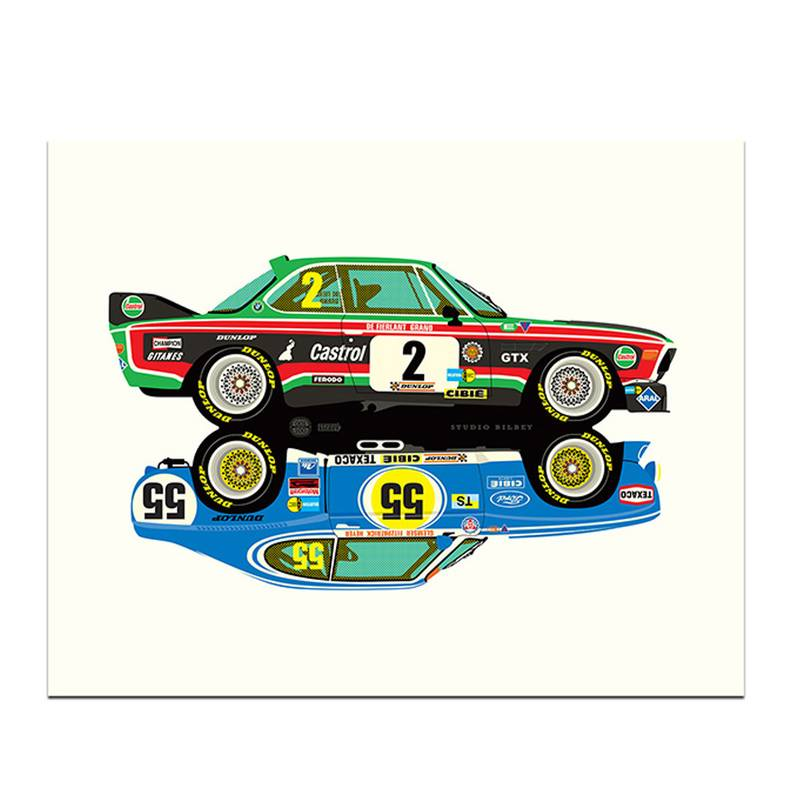 Product image for Rivals | BMW 3.5CSL - Ford Capri 3100 | Studio Bilbey | Limited Edition print
