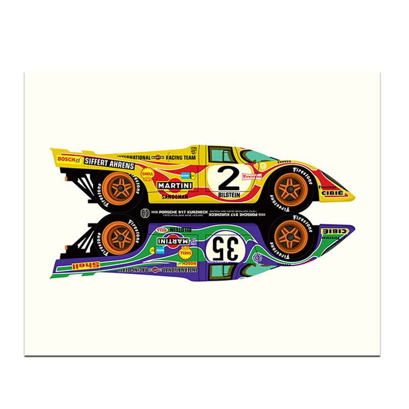 Product image for Hippy Cars | Porsche 917  - Le Mans - 1970 | Studio Bilbey | Limited Edition print