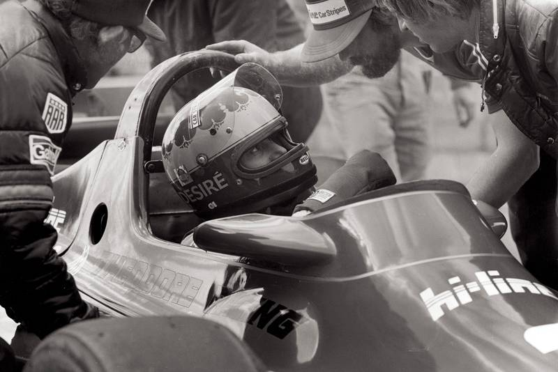 Female racing driver Desire Wilson at Silverstone British Grand Prix 1980 where she failed to qualify for the race