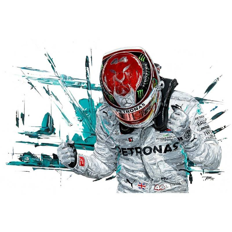 Product image for Lewis Hamilton - Mercedes - 2019 | David Johnson | Limited Edition print