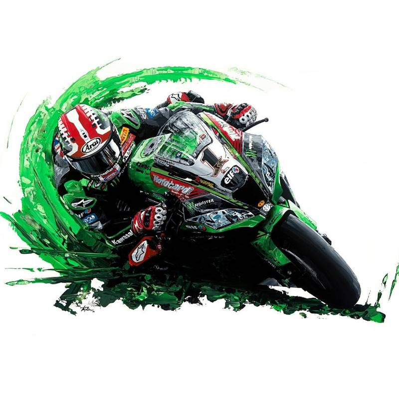 Product image for Jonathan Rea – 2018 – Kawasaki | David Johnson | Limited Edition print