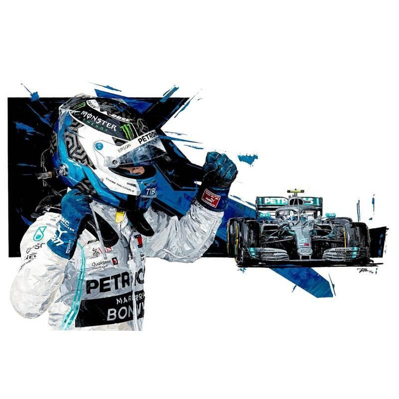 Product image for Valtteri Bottas - Mercedes - 2019 | David Johnson | Limited Edition print