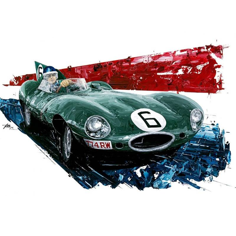 Product image for Mike Hawthorn - Jaguar - 1955 | David Johnson | Limited Edition print