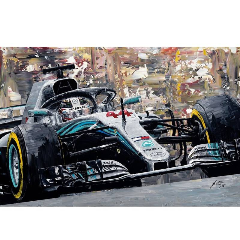 Product image for Lewis Hamilton- Mercedes W09 - 2018 | David Johnson | Limited Edition print