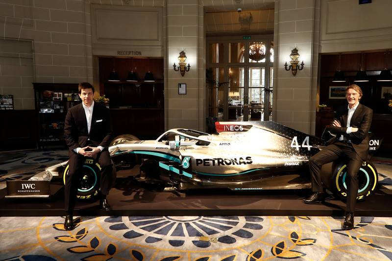 Toto Wolff and Sir Jim Ratcliffe with the new 2020 Mercedes livery