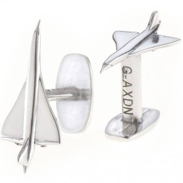 A pair of silver concorde cufflinks