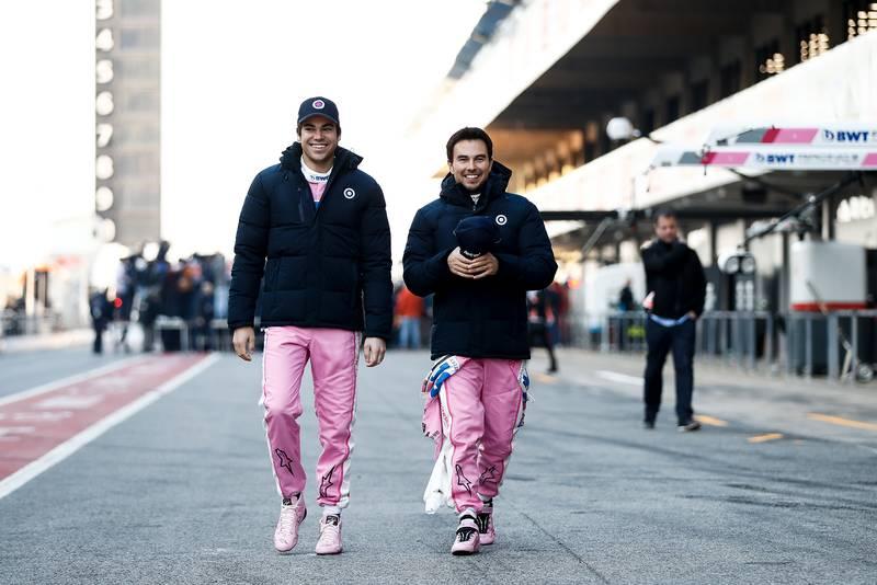 2020 F1 Barcelona pre-season test Day 1 Stroll and Perez