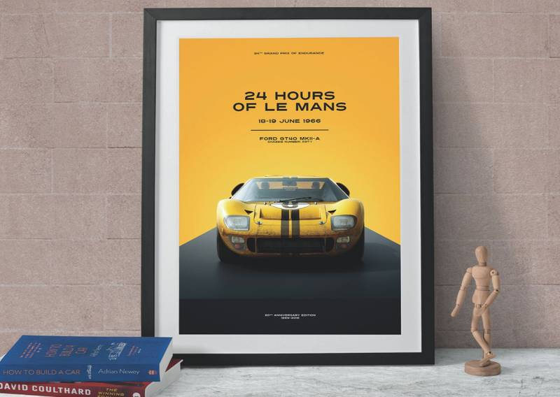 Yellow Ford Gt40 Poster, 24 hours Le Mans