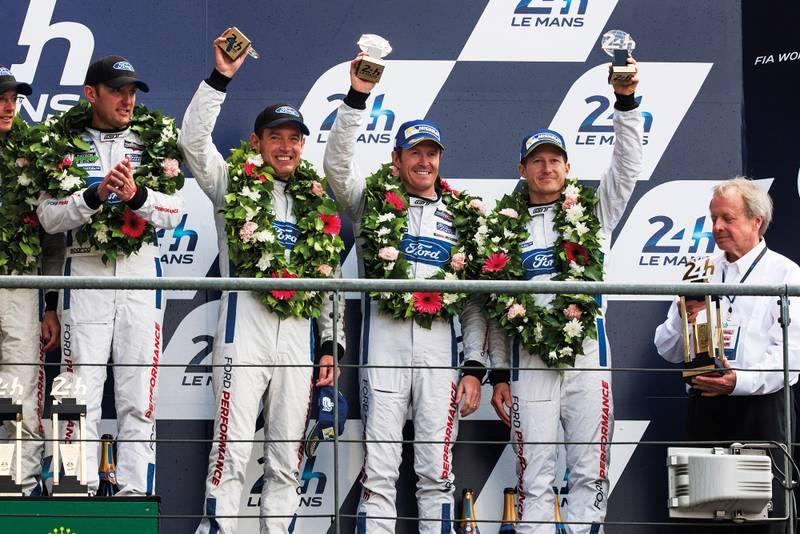Ford GT Le mans win podium