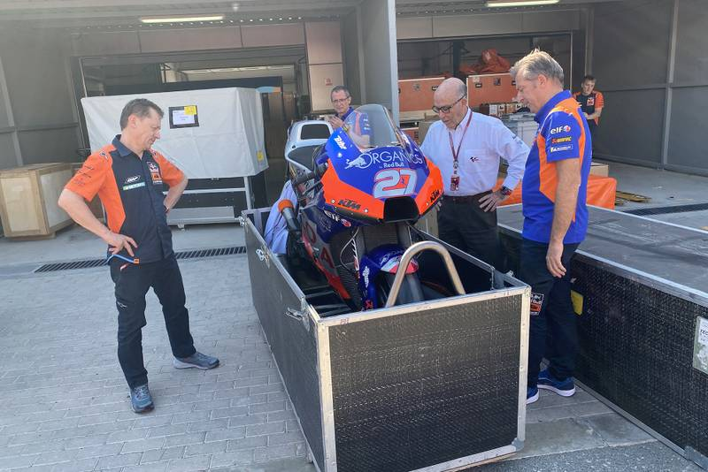 KTM RC16 is packed up following the cancellation of the MotoGP Qatar race
