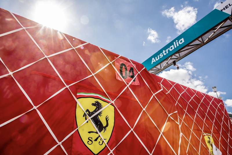 Ferrari equipment at Melbourne for the 2020 Australian Grand Prix